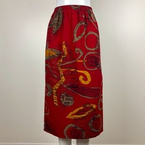 Red Abstract Print Midi Skirt